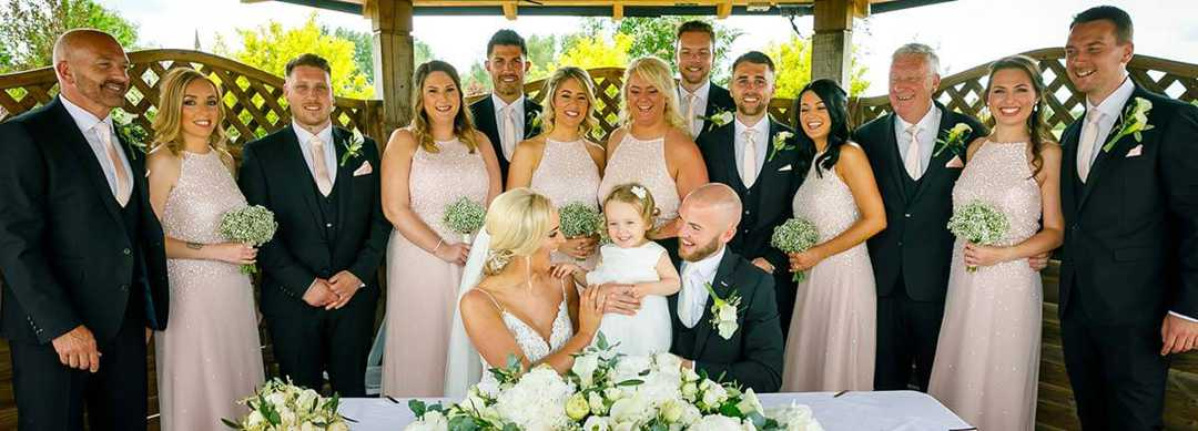 Alicia and Lewis, and their wedding party